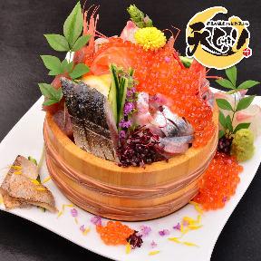 鮮魚の桶盛りと創作天ぷら 天しゃり